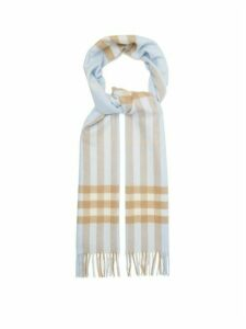 Burberry - Classic Checked Cashmere Scarf - Womens - Blue Multi