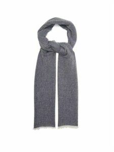 Allude - Fringed Cashmere Scarf - Womens - Navy