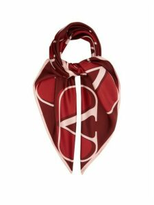 Valentino - V-logo Silk-twill Scarf - Womens - Red