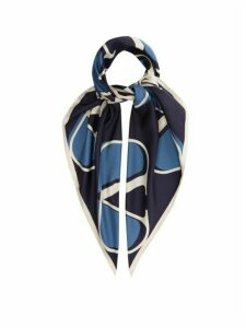 Valentino - V-logo Silk-twill Scarf - Womens - Blue