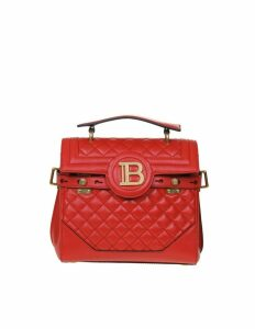 Balmain B-buzz Bag 23 In Quilted Leather Red