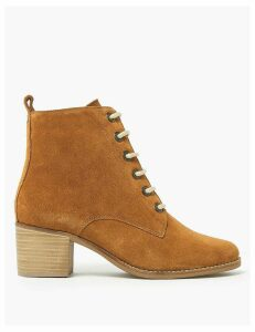 M&S Collection Suede Lace Up Block Heel Ankle Boots
