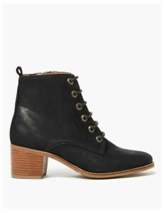 M&S Collection Leather Block Heel Lace Up Ankle Boots