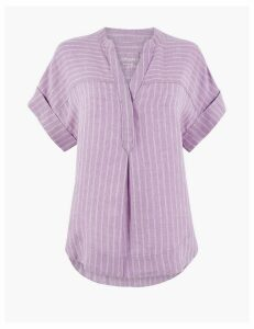 M&S Collection Pure Linen Striped Popover Blouse