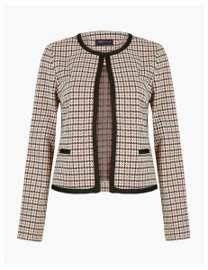 M&S Collection Jersey Slim Dogtooth Blazer