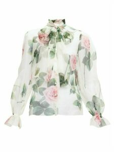 Dolce & Gabbana - Pussy-bow Rose-print Silk-organza Blouse - Womens - White Multi