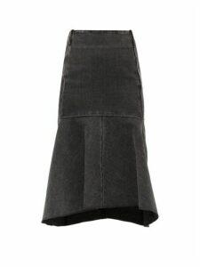 Balenciaga - Godet-insert Denim Skirt - Womens - Black