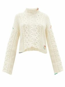 JW Anderson - Logo-embroidered Cotton Sweater - Womens - Ivory