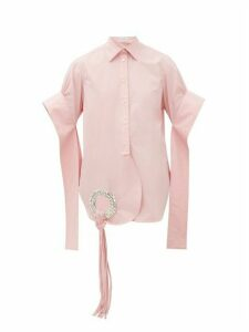 JW Anderson - Crystal-embellished Cotton Poplin Shirt - Womens - Pink