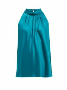 Diane Von Furstenberg - Dove High-neck Satin Blouse - Womens - Green