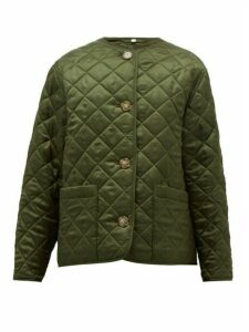 Burberry - Quilted Logo-jacquard Twill Jacket - Womens - Olive Green