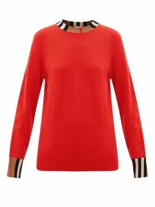 Burberry - Eyre Icon-striped Cashmere Sweater - Womens - Red