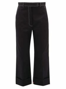 Thom Browne - Topstitched Cotton-drill Chinos - Womens - Navy