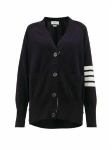 Thom Browne - V-neck Cotton Cardigan - Womens - Navy