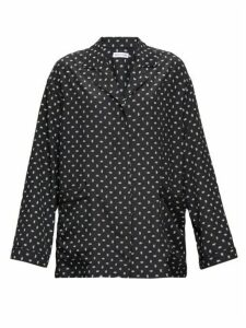 Balenciaga - Oversized Bb Logo-print Crepe Blouse - Womens - Black White