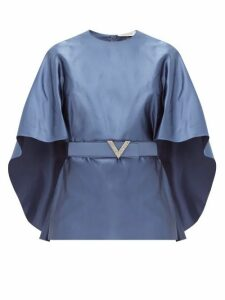 Valentino - Belted Cape-sleeve Silk-satin Top - Womens - Blue