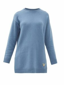 Valentino - Oversized Split-hem Cashmere Sweater - Womens - Blue