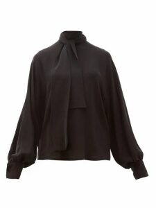 Valentino - Tie-neck Silk-georgette Blouse - Womens - Black