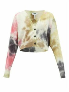 MSGM - Cropped Tie-die Wool Cardigan - Womens - Grey Multi