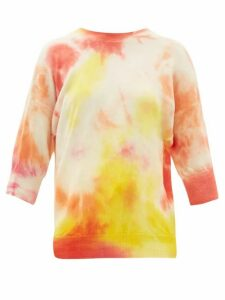 Msgm - Cropped-sleeve Tie-die Wool Sweater - Womens - Pink Multi