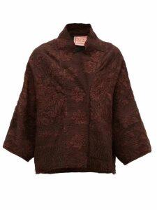 By Walid - Cassie Piano-shawl Silk Jacket - Womens - Brown