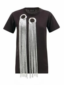 Germanier - Eyelet And Chainmail-embellished Cotton T-shirt - Womens - Black