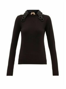 No. 21 - Crystal-embellished Collar Wool Sweater - Womens - Black