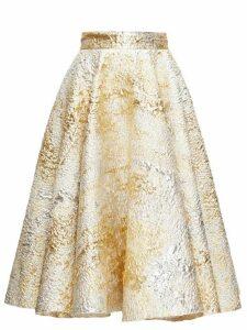 Dolce & Gabbana - High-rise Metallic-cloqué Midi Skirt - Womens - Gold Multi