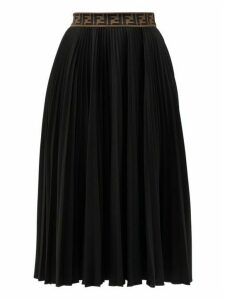 Fendi - Ff-jacquard Pleated Jersey Midi Skirt - Womens - Black