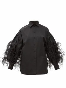 Valentino - Feather-trimmed Cotton-blend Shirt - Womens - Black