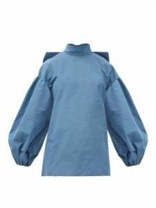Valentino - Bow-neck Cotton-blend Faille Blouse - Womens - Blue