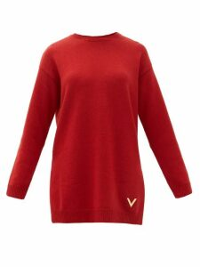 Valentino - Logo-plaque Cashmere Sweater - Womens - Red