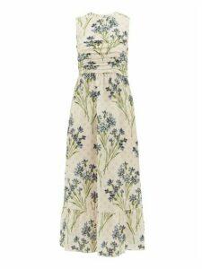 REDValentino - Pleated Cornflower-print Silk-crepe Dress - Womens - Cream Multi