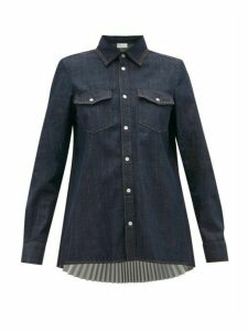 Redvalentino - Plissé Back Rinse-wash Denim Shirt - Womens - Indigo