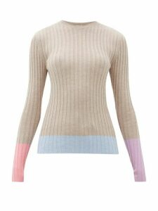 JW Anderson - Colour-block Merino-wool Sweater - Womens - Beige Multi