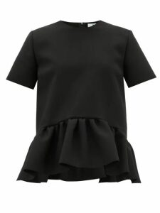 Msgm - Ruffled-peplum Cady Top - Womens - Black