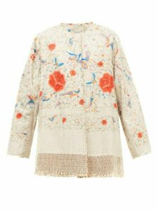 By Walid - Tara Floral-embroidered Cotton And Silk Coat - Womens - White Multi