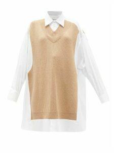 Maison Margiela - Deconstructed Oversized Knit-panel Cotton Shirt - Womens - White Multi