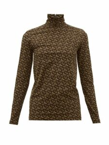 Burberry - Trancura High-neck Tb-monogram Top - Womens - Brown Print