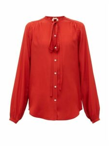 No. 21 - Neck-tie Crepe Blouse - Womens - Red