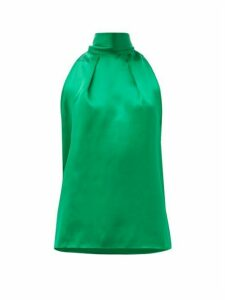 Saloni - Michelle Halterneck Hammered Silk-satin Top - Womens - Green