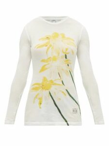 Loewe - Floral-print Long-sleeved Cotton-jersey T-shirt - Womens - Yellow Print
