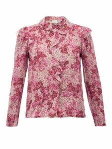Giambattista Valli - Ruffled Floral-print Silk-georgette Blouse - Womens - Pink