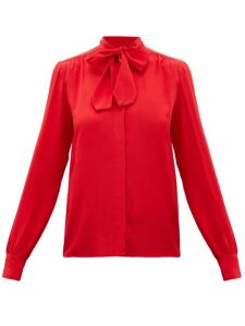 Giambattista Valli - Pussy-bow Silk-crepe Blouse - Womens - Red