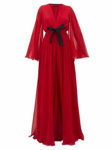 Giambattista Valli - Ruffled Lace-trimmed Georgette Gown - Womens - Red