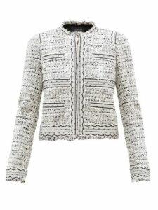 Giambattista Valli - Tulle-trimmed Cotton-blend Bouclé Jacket - Womens - White Black