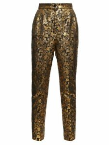 Dolce & Gabbana - High-rise Floral-brocade Trousers - Womens - Gold Multi