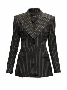 Dolce & Gabbana - Pinstripe Peak-lapel Wool-blend Blazer - Womens - Grey Multi