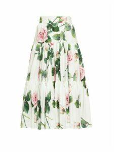 Dolce & Gabbana - Tiered Rose-print Cotton-poplin Skirt - Womens - White Multi