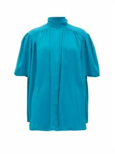 Balenciaga - Tie-neck Gathered Crepe Blouse - Womens - Blue